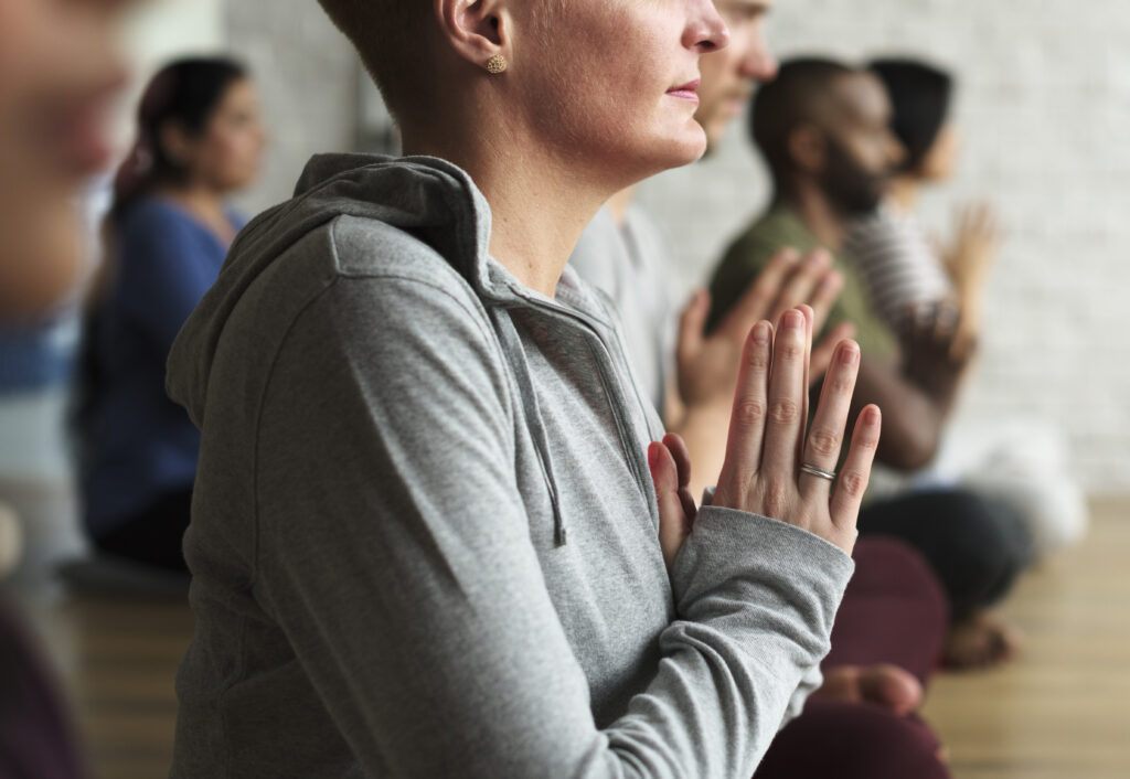 A woman practicing yoga